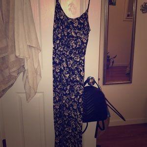 Floral Black maxi dress with spaghetti straps